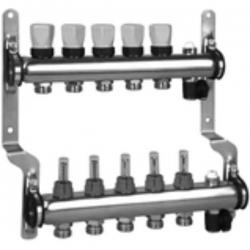 Коллектор из нержавеющей стали для систем напольного отопления с расходомерами на 11 выхода