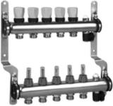 Коллектор из нержавеющей стали для систем напольного отопления с расходомерами на 2 выхода